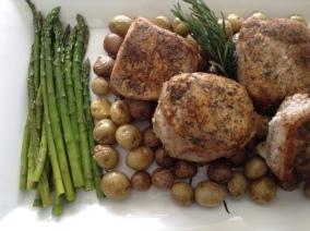Dbl cut pork chops new potatoes and asparagus