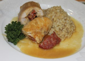 Stuffed Chicken roulade with white wine sauce